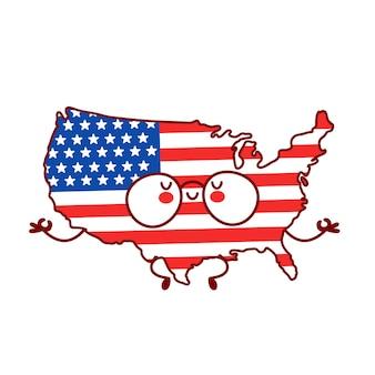 Carino felice divertente mappa usa e bandiera personaggio meditare