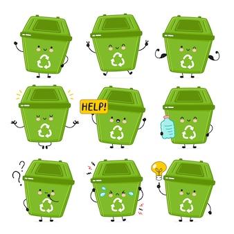 Raccolta di set di contenitori di rifiuti felici carino.