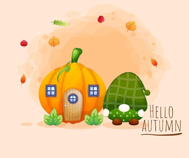 Simpatico gnomo felice con il personaggio dei cartoni animati della casa pamkin autumn