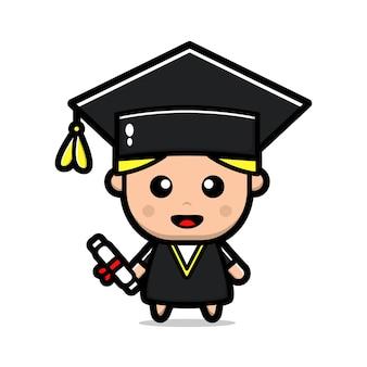 Illustrazione vettoriale carino felice laurea