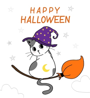Simpatico costume da gattino happy halloween, dolcetto o scherzetto con ragno, scarabocchiare idea di illustrazione vettoriale piatta per biglietto di auguri, maglietta per bambini