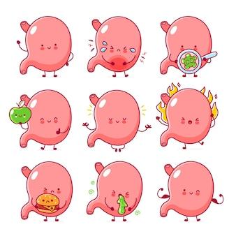 Carino felice sano e triste malsano divertente stomaco insieme di organi insieme. icona di illustrazione di carattere kawaii del fumetto di linea piatta. isolato su sfondo bianco. concetto di fascio di stomaco