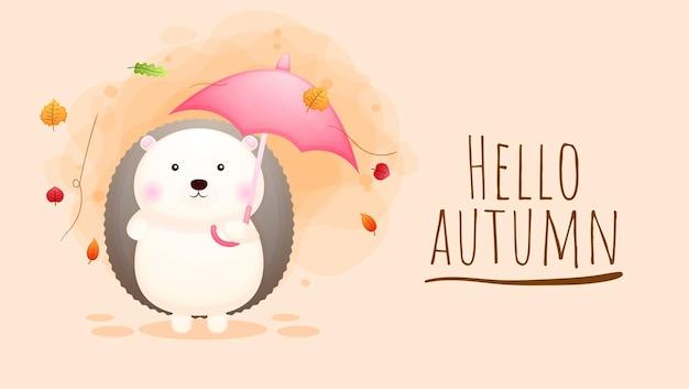 Simpatico personaggio dei cartoni animati di riccio felice autunno