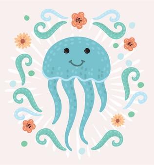 Personaggio dei cartoni animati felice sveglio delle meduse illustrazione animale di mare illustrazione animale di vettore della medusa della fauna animale invertebrata