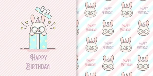 Simpatico coniglietto kawaii felice con cappello festivo e carta e due seamless