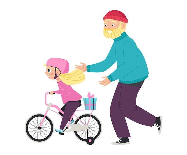 Ragazza carina bambino felice in casco di sicurezza rosa in sella a una bicicletta a Vettore Premium