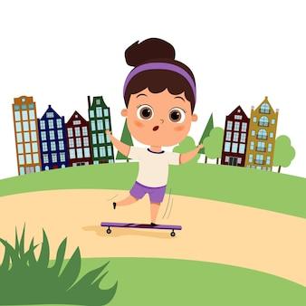Ragazza carina felice del bambino che guida un'illustrazione piana del fumetto dello skateboard adolescente con uno skateboard su un paesaggio della città