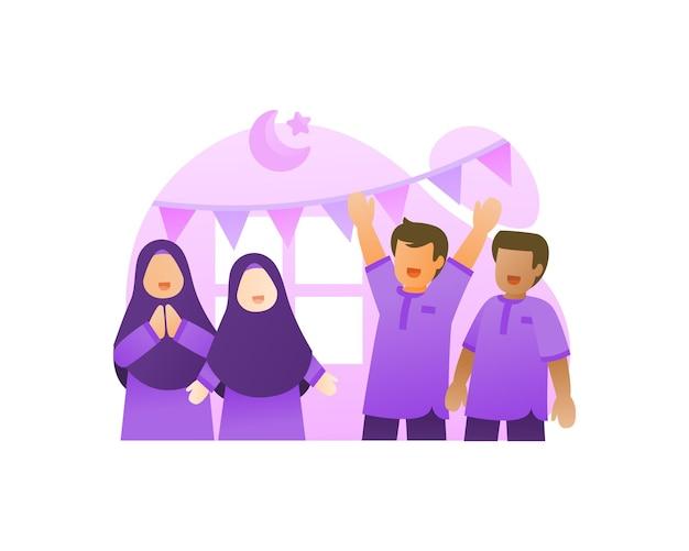 Bambini felici e carini festeggiano l'illustrazione di eid mubarakak