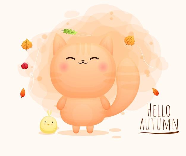 Simpatico gattino felice con il personaggio dei cartoni animati di pulcini autumn