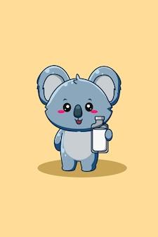 Koala carino e felice con illustrazione di cartone animato animale latte