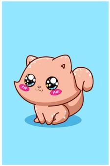 Illustrazione del fumetto del piccolo gatto marrone carino e felice