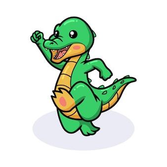 Simpatico cartone animato coccodrillo felice