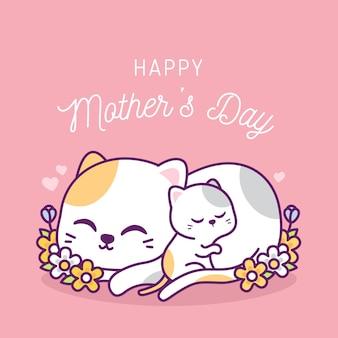 Carino felice festa della mamma con illustrazione di gatti