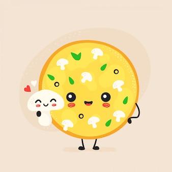 Simpatico personaggio di pizza ai funghi felice.
