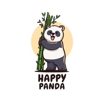 Carattere felice sveglio dell'orso di panda che tiene l'illustrazione del ramo di bambù
