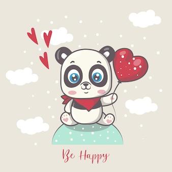 Panda felice sveglio con l'illustrazione del palloncino del cuore