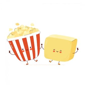 Simpatico personaggio di popcorn e burro felice.