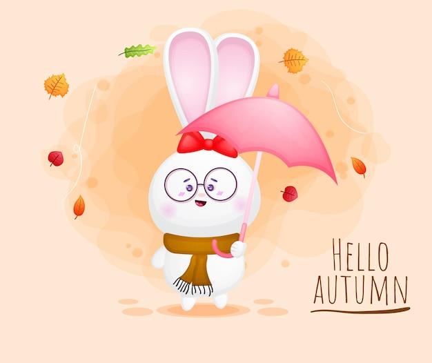 Simpatico coniglio felice ragazza personaggio dei cartoni animati autunno