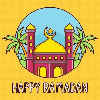 Illustrazione sveglia felice del ramadan con la moschea e la palma