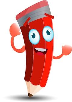 Simpatico personaggio mascotte dei cartoni animati con matita rossa felice