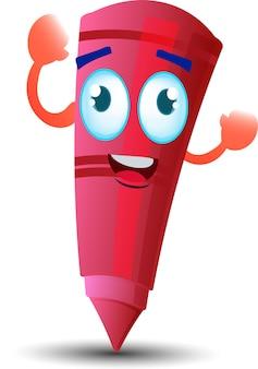 Personaggio mascotte dei cartoni animati con pastello a cera rosso felice carino