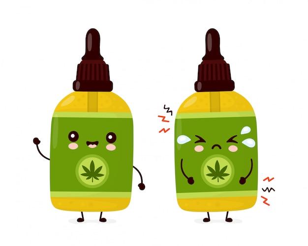 Carina bottiglia di olio di cbd di cannabis divertente felice e triste. personaggio dei cartoni animati illustrazione icona design.isolated
