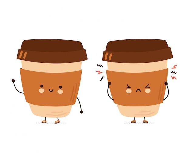 Tazza di caffè divertente felice e triste sveglia. illustrazione di stile disegnato a mano del personaggio dei cartoni animati