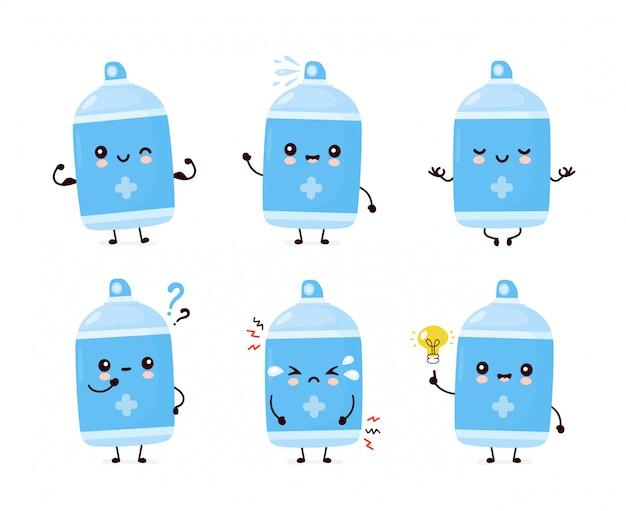 Raccolta di set di bottiglie spray antisettico sorridente felice sveglio.