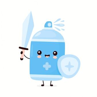 Flacone spray antisettico sorridente felice carino con spada e scudo. personaggio dei cartoni animati illustrazione icona design.isolated