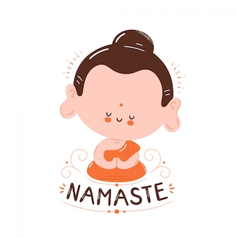 Il buddha sorridente felice sveglio medita nella posa del loto. carta di namaste. isolato su bianco progettazione dell'illustrazione del personaggio dei cartoni animati di vettore, stile piano semplice. piccolo buddha in loto, concetto di namaste