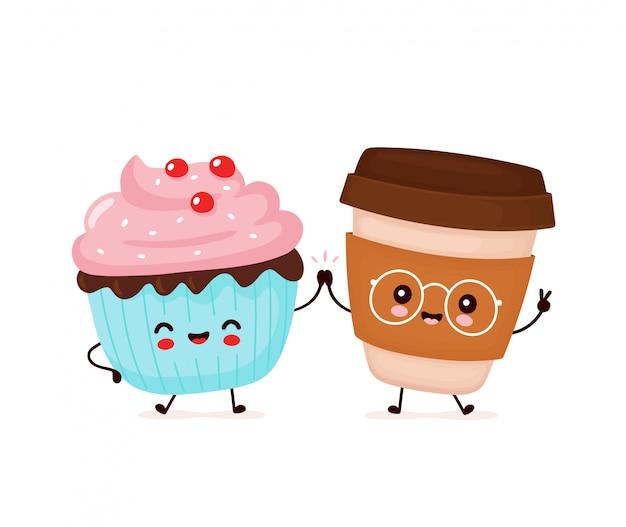 Bigné e tazza di caffè sorridenti felici svegli. personaggio dei cartoni animati.