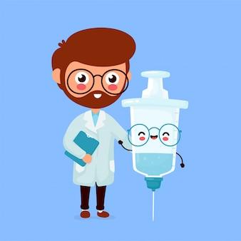 Medico e siringa sorridenti felici svegli con il vaccino.