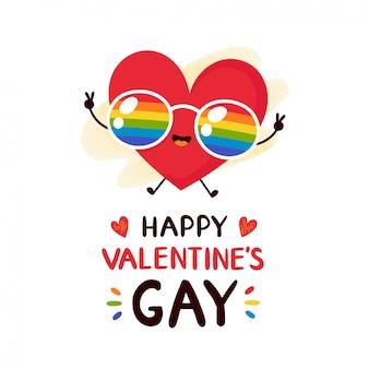 Carino cuore rosso sorridente felice in bicchieri lgbt arcobaleno biglietto di auguri di san valentino