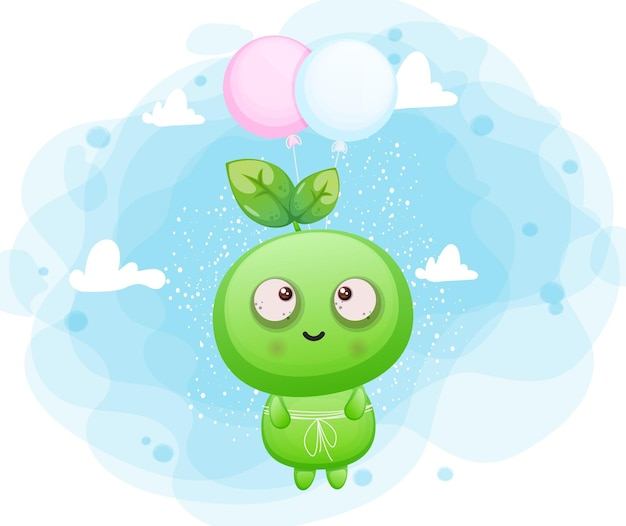 Simpatico seme sorridente felice che vola con palloncino personaggio mascotte aliena vettore premium