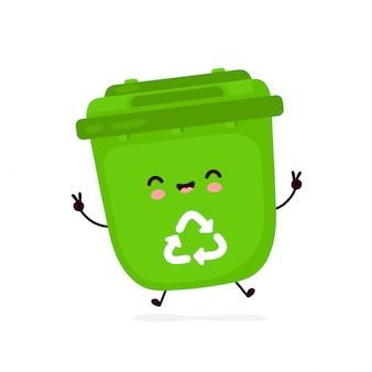 Bidone della spazzatura sorridente felice sveglio. personaggio dei cartoni animati.
