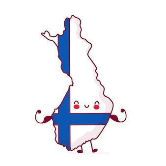Carattere carino felice forte divertente finlandia mappa e bandiera.