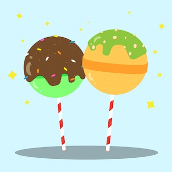 Caramelle dolci lecca-lecca felice felice disegno vettoriale