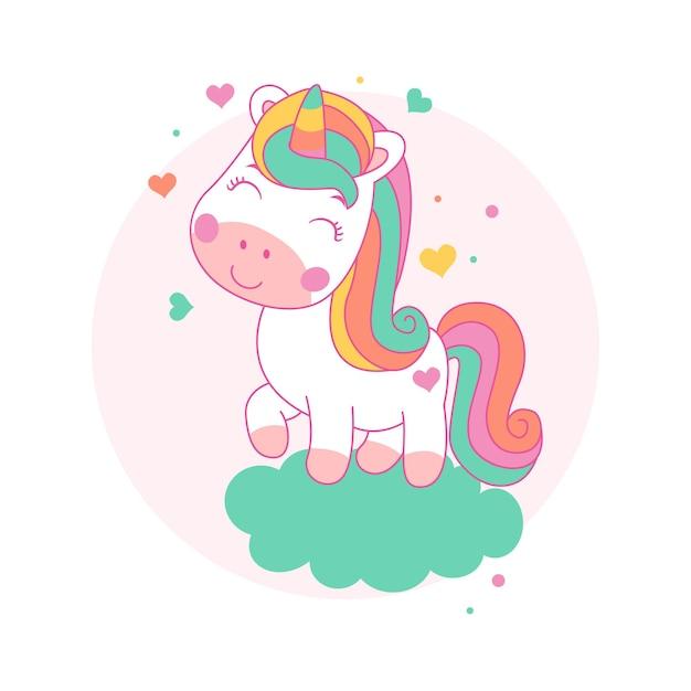 Cartone animato carino unicorno felice su uno stile kawaii nuvola