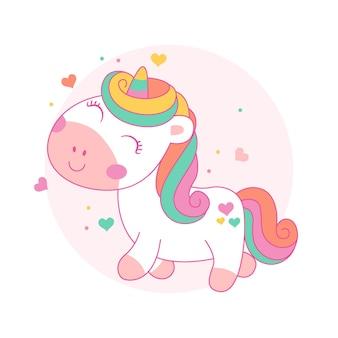 Stile kawaii sveglio del fumetto dell'unicorno felice