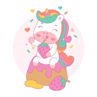 Simpatico cartone animato felice unicorno con torta dolce stile kawaii