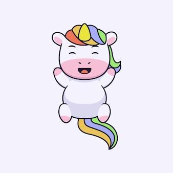 Simpatico disegno del personaggio di unicorno felice