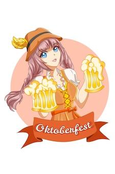 Donna carina e felice che celebra l'oktoberfest con l'illustrazione del fumetto della birra