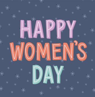 Giornate di donne felici sveglie scritte su uno sfondo blu con illustrazione di fiori