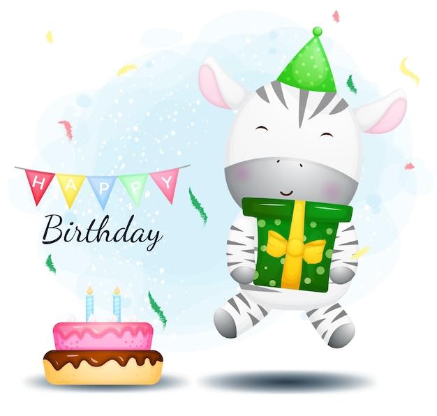 Salto della zebra felice sveglio e confezione regalo che abbraccia. auguri di buon compleanno