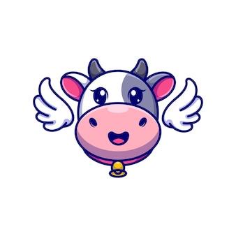 Cartone animato carino testa di mucca con ali