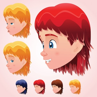 Testa sveglia del ragazzino con le espressioni facciali e quattro colori