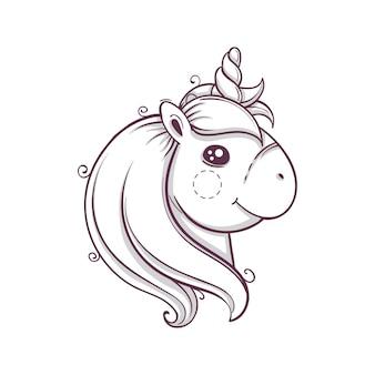 Simpatica testa di unicorno. stile disegnato a mano di schizzo monocromatico, illustrazione vettoriale