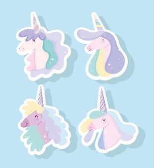 Simpatici unicorni con la testa