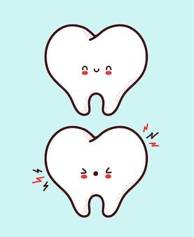 Carattere di dente umano divertente triste sano e malato sveglio