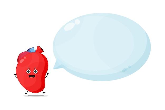 Simpatico personaggio di organo cardiaco con discorso bolla